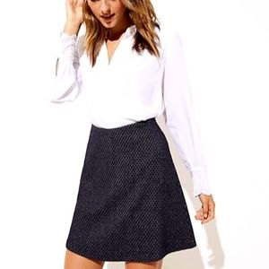 NEW Loft XS Petite Black Flippy Diamond Skirt